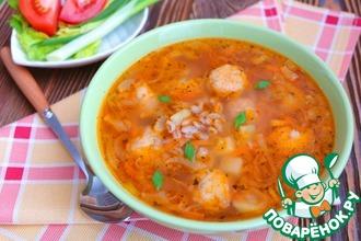 Томатный суп с рыбными фрикадельками