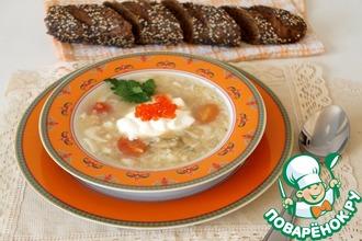 Суп с рисом, треской и икрой