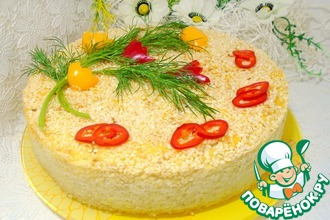 Пирог с пшеном, манкой и овощами