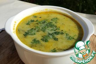 Куриный сливочный суп со шпинатом