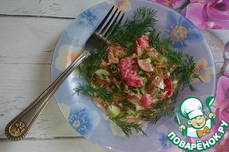Салат с капустой и сосисками