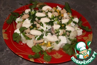 Салат из цветной капусты с консервами
