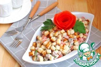 Салат с говядиной, помидорами и сыром