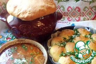 Украинский борщ в горшочке с пампушками