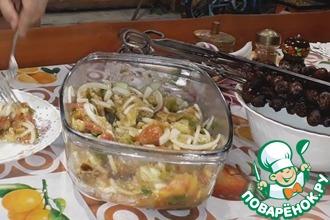 Горячий салат с сердечками на гриле