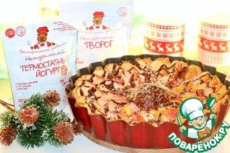 Творожный пирог с яблочно-малиновым суфле