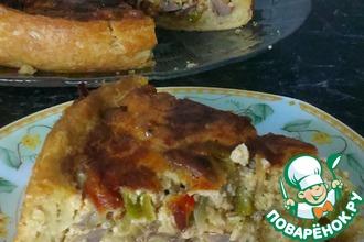 Открытый пирог с куриными потрошками