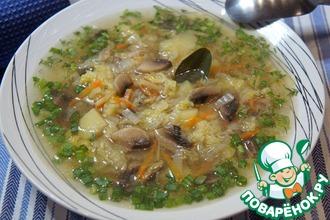 Суп с пекинской капустой и шампиньонами