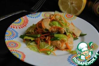 Овощной салат с имбирной курицей