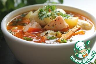Рыбный суп с сырными шариками