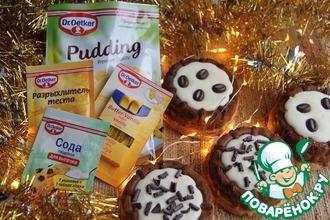 Шоколадно-ванильные корзиночки с пудингом