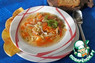Суп с курицей, сельдереем и фенхелем