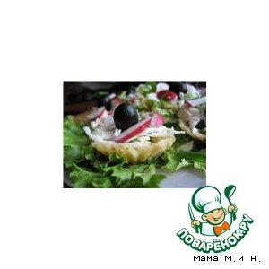 Сырные корзинки с салатом