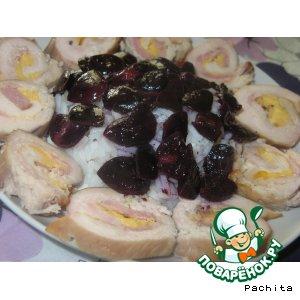 Куриные рулеты в виноградном соке