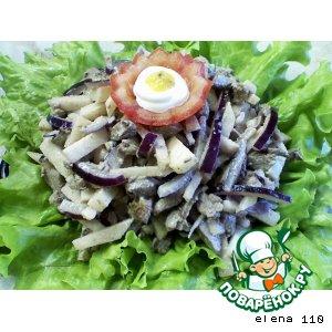 Тeплый салат из куриной печени
