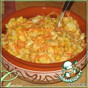 Сытный салат с курицей и корейской морковью