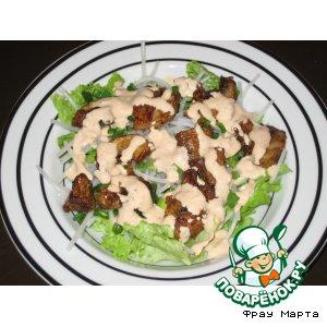 Салат из рисовой лапши и грибов в кляре
