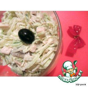 Салат из редьки с курицей и шампиньонами