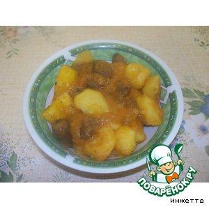 Тушeная картошка с куриными сердечками