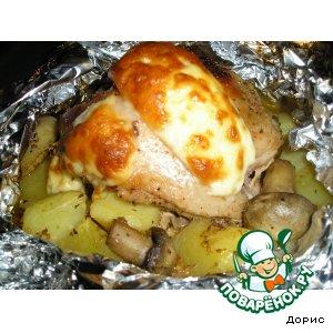 Пряная курочка с картошкой и грибами