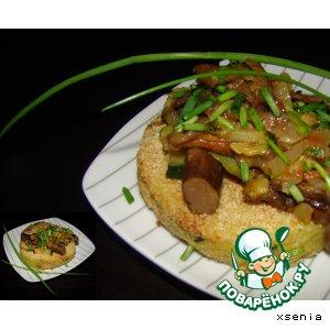 Картофельные биточки с овощами и грибами
