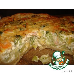 Киш-пирог с креветками и овощами