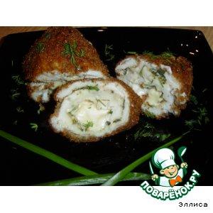 Рулетики из куриной грудки с плавленым сыром и зеленью