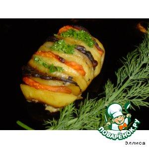 Картошка-гармошка с грибами и морковью