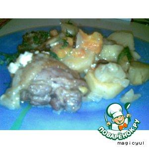 Картошка с мясом и яблоками