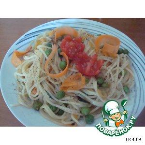 Макароны с овощами и медовым соусом