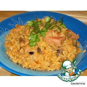Свинина с рисом, чечевицей и грибами