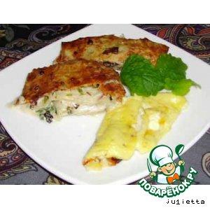 Лаваш со сливочным сыром, зеленью и омлетом