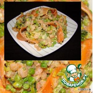 Креветки с зеленым горошком