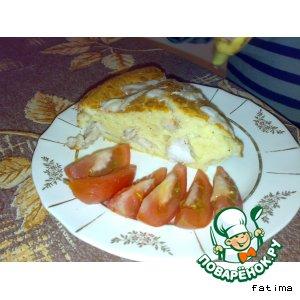 Пирог с сыром и курицей