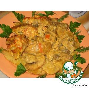 Мясо с картошкой в сливочно-томатном соусе