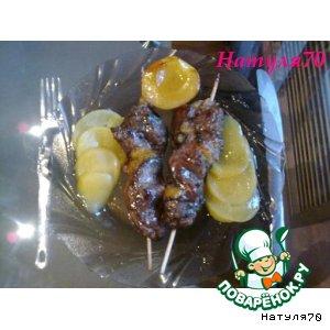 Шашлычок из печени индюшки в персиковом соусе