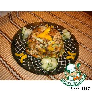Салат из морской капусты с фасолью