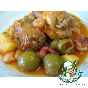 Мясное   рагу   с   фасолью,   тыквой   и   оливками