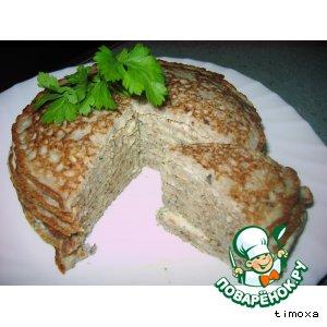 Тортик из блинчиков с грибами