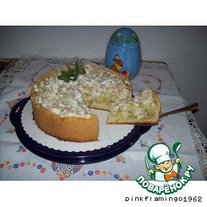 Пирог с ревенем и яблоком