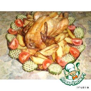 Курица,  запечeнная на банке