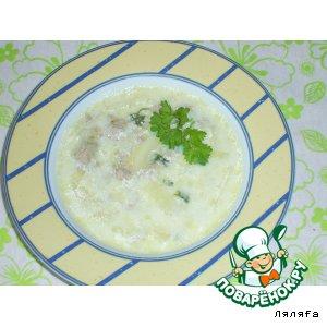 Сырный суп с луком-пореем