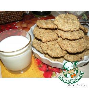 Овсяное печенье с орехами, шоколадом и изюмом