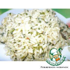 Не шлифованный рис с шпинатом