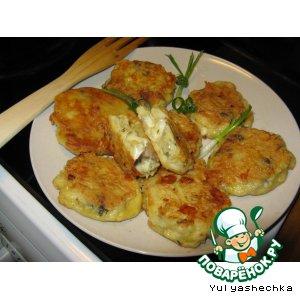 Картофельные сырно-грибные биточки в кляре