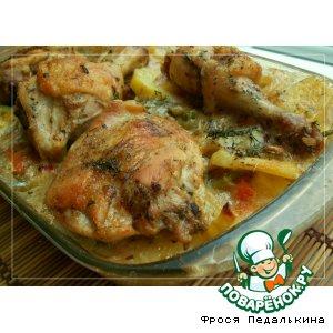 Куриные ножки с запеченными овощами