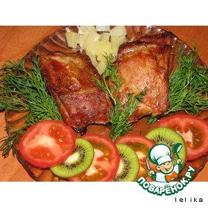 Свиные ребрышки в маринаде с ананасами