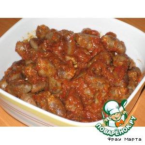 Сердечки куриные в томатном соусе по-корейски
