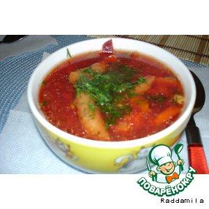 Овощной суп со свеклой и фасолью