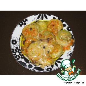«Морской язык» с овощами под сливочно-грибным соусом